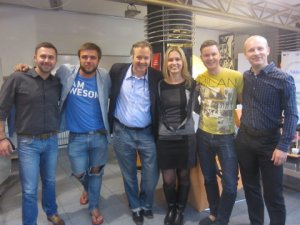 "Chris Pfaff with Estonian ""Estopreneurs"" at Garage 48 start-up hub in Tallinn, Estonia (2014)"
