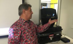 "Ted Iannuzzi, creative technologist with Ixonos, demonstrates the Provision ""touchless"" holographic projection display"